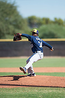 Milwaukee Brewers relief pitcher Alexis Ramirez (21) delivers a pitch during an Instructional League game against the San Diego Padres at Peoria Sports Complex on September 21, 2018 in Peoria, Arizona. (Zachary Lucy/Four Seam Images)