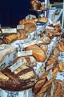 San Fransicso, California, USA. Bread Vendor at Weekend Farmers Market.