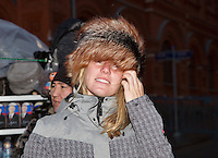 Moskou, Russia, Februari 3, 2016,  Fed Cup Russia-Netherlands,  Red Square, Dutch players trying fur bonnets, A<br /> Photo: Tennisimages/Henk Koster