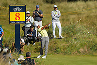 150719 | The 148th Open - Monday Practice<br /> <br /> Tiger Woods of USA  tees off on the 8th hole during  during practice for the 148th Open Championship at Royal Portrush Golf Club, County Antrim, Northern Ireland. Photo by John Dickson - DICKSONDIGITAL