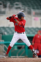 GCL Red Sox first baseman Keibert Petit (71) at bat during a game against the GCL Rays on August 1, 2018 at JetBlue Park in Fort Myers, Florida.  GCL Red Sox defeated GCL Rays 5-1 in a rain shortened game.  (Mike Janes/Four Seam Images)