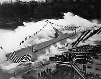 Launching of USS ROBALO 9 May 1943, at Manitowoc Shipbuilding Co., Manitowoc, Wis.  (Navy)<br /> NARA FILE #:  080-G-68535<br /> WAR & CONFLICT BOOK #:  821