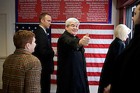 Former Speaker of the House Newt Gingrich gives a thumbs up after a campaign stop in Littleton, New Hampshire.  Gingrich is seeking the 2012 Republican nomination for president.