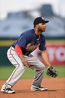Gwinnett Braves third baseman Edward Salcedo (5) during a game against the Buffalo Bisons on May 13, 2014 at Coca-Cola Field in Buffalo, New  York.  Gwinnett defeated Buffalo 3-2.  (Mike Janes/Four Seam Images)