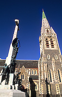 Statue and Cathedral in Christchurch, New Zealand, South Pacific