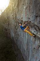 Neil Gresham on Straight Jacket 8a+ at Malham Cove, United Kingdom