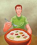 Illustration of studious man eating book breakfast