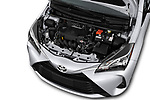 Car stock 2018 Toyota Yaris L 3-Door Liftback 3 Door Hatchback engine high angle detail view