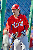 11 October 2012: St. Louis Cardinals shortstop Pete Kozma awaits his turn in the batting cage prior to Postseason Playoff Game 4 of the National League Divisional Series against the Washington Nationals at Nationals Park in Washington, DC. The Nationals defeated the Cardinals 2-1 tying the Series at 2 games apiece. Mandatory Credit: Ed Wolfstein Photo