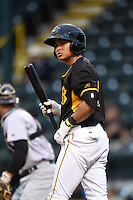 Bradenton Marauders second baseman Ashley Ponce (7) during a game against the Jupiter Hammerheads on April 19, 2014 at McKechnie Field in Bradenton, Florida.  Bradenton defeated Jupiter 4-0.  (Mike Janes/Four Seam Images)