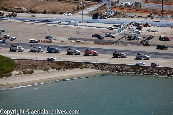 aerial photograph dump trucks at San Francisco Oakland Bay Bridge construction August 30, 2013