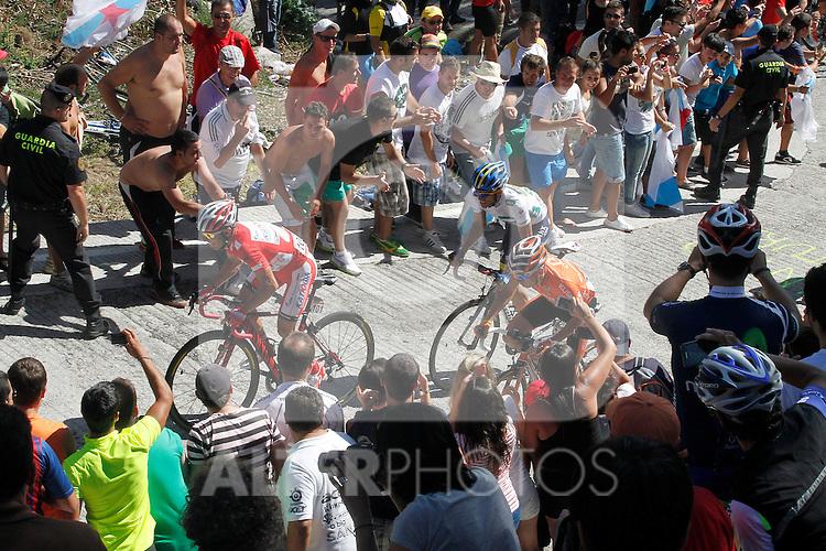 Joaquin Purito Rodriguez, Igor Anton and Alberto Contador during the stage of La Vuelta 2012 between Vilagarcia de Arousa and Mirador de Erazo (Dumbria).August 30,2012. (ALTERPHOTOS/Paola Otero)