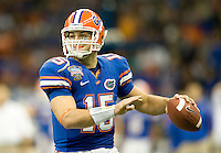 01 January 2010:  Tim Tebow of Florida prepares to throw a football during the game against Cincinnati during Sugar Bowl at the SuperDome in New Orleans, Louisiana.  Florida defeated Cincinnati, 51-24.