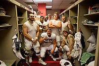 LOS ANGELES, CA - SEPTEMBER 11: The Stanford Cardinal offensive linemen: Branson Bragg #66, Levi Rogers #57, Barrett Miller #63, Walter Rouse #75, James Pogorelc #74, Drake Nugent #60, Myles Hinton #78, Jake Hornibrook #73, Drake Metcalf #55 and Connor McLaughlin #71 after a game between University of Southern California and Stanford Football at Los Angeles Memorial Coliseum on September 11, 2021 in Los Angeles, California.