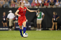 CHARLOTTE, NC - OCTOBER 03: Becky Sauerbrunn #4 of the United States moves with the ball during their game versus Korea Republic at Bank of American Stadium, on October 03, 2019 in Charlotte, NC.