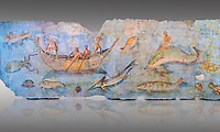 Roman Fresco with boats and marine life from the second quarter of the first century AD. (mosaico fauna marina da porto fluviale di san paolo), museo nazionale romano ( National Roman Museum), Rome, Italy. inv. 121462 .  Against a grey background.<br /> The frescoes depict boats decorated as boats which went along the Tiber on festival days; their shape appears to be the caudicariae boats, used to transport merchandise. In the fresco fragment exhibited here (Ambiente E) the boat on the left depicts probably the group of 'side Serapide and Demetra on the stern, whereas the one on the right presents a crowned character on the bow and, on the stern, a feminine figure fluctuating in the air. Between the two boats, a young boy (a cupid or Palaimon-Portunus) rides a dolphin. All around are depicted several fish incredibly casting their shadows on the sea. The ichthyic fauna, lifeless as in still life decoration, is detailed as in a scientific catalogue. For the most part the represented species live next to the coast or were bred by the Romans in the piscinae salsac or in ponds. It is possible to recognize the rock mullet (mullus sunnuletus) and the mud one (mullus barbatu4 the scorpion fish (scorpoena) the dentex (dentex dentex), the aguglia (belone agus) the dolphin (delphinus delphis) and the golden mullet (lire curate).