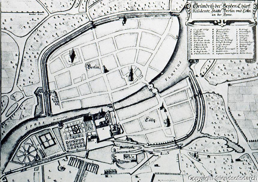 Berlin: Map of Berlin and Colln, 1648. SCHINKEL'S BERLIN, Hermann G. Pundt, Harvard 1972. Reference only.