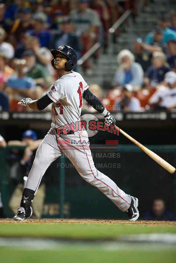 Oklahoma City Redhawks shortstop Jimmy Paredes #17 during the Triple-A All-Star game featuring the Pacific Coast League and International League top players at Coca-Cola Field on July 11, 2012 in Buffalo, New York.  PCL defeated the IL 3-0.  (Mike Janes/Four Seam Images)