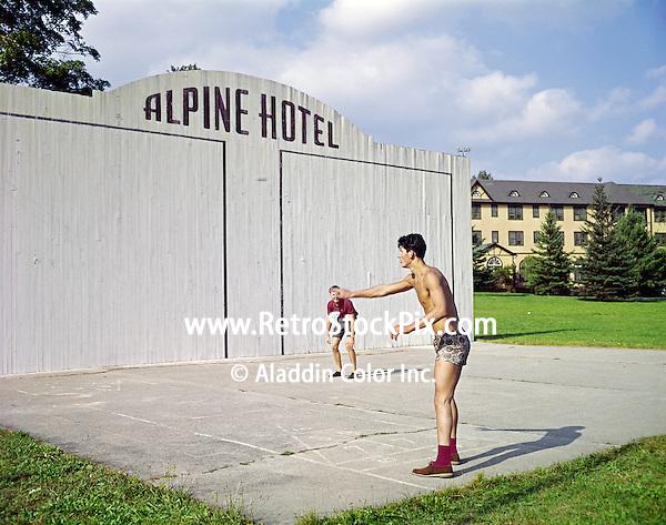 Alpine Hotel, Ellenville, NY. Two men playing handball.