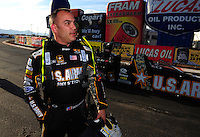 Feb. 19, 2012; Chandler, AZ, USA; NHRA top fuel dragster driver Tony Schumacher after losing in the final round of the Arizona Nationals at Firebird International Raceway. Mandatory Credit: Mark J. Rebilas-