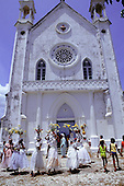 Bahia State, Brazil. Followers of Candomble in the ceremony of Washing the Steps of the church (Lavagem das Igrejas).
