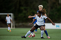 Seattle, WA - April 15th, 2017: Kayla Mills and Megan Rapinoe during a regular season National Women's Soccer League (NWSL) match between the Seattle Reign FC and Sky Blue FC at Memorial Stadium.