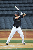 Bobby Seymour (3) of the Wake Forest Demon Deacons at bat against the Virginia Cavaliers at David F. Couch Ballpark on May 18, 2018 in  Winston-Salem, North Carolina.  The Cavaliers defeated the Demon Deacons 15-3.  (Brian Westerholt/Four Seam Images)