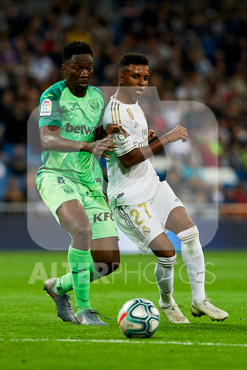 Rodrygo Goes of Real Madrid and Kenneth Josiah Omeruo of CD Leganes during La Liga match between Real Madrid and CD Leganes at Santiago Bernabeu Stadium in Madrid, Spain. October 30, 2019. (ALTERPHOTOS/A. Perez Meca)