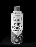 Client: Gulf Oil Company<br /> Art Studio: Huot Studio<br /> Product: Gulf ant roach bomb.<br /> Location: Brady Studio Studio, 725 Liberty Avenue in Pittsburgh<br /> <br /> Gulf ant roach bomb... works fine even upside down!  Can't remember this one.<br /> <br /> Founded by William Mellon in 1909, Gulf Oil remains one of the most well known Oil Company brands in the world. Gulfpride was first marketed in 1920 and remains one of Gulf's most recognized brands today. Studio Photography of a Gulf Ant Roach Bomb Can for a product catalog - 1962.