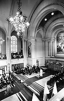 1984 FILE PHOTO - ARCHIVES -<br /> <br /> Spoken to nuns, Pope John Paul II delivers a speech in the Mother House of the COngregation of Notre Dame in Montreal, and then mingled with a group of nuns, some of them in wheelchairs.<br /> <br /> 1984<br /> <br /> PHOTO : Boris Spremo - Toronto Star Archives - AQP