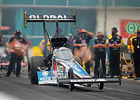 Sep 27, 2020; Gainesville, Florida, USA; NHRA top fuel driver Antron Brown during the Gatornationals at Gainesville Raceway. Mandatory Credit: Mark J. Rebilas-USA TODAY Sports