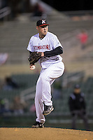 Kannapolis Intimidators relief pitcher Drew Hasler (35) in action against the Hickory Crawdads at Kannapolis Intimidators Stadium on April 9, 2016 in Kannapolis, North Carolina.  The Crawdads defeated the Intimidators 6-1 in 10 innings.  (Brian Westerholt/Four Seam Images)