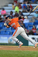 Aberdeen IronBirds first baseman Cory Segui (24) at bat during a game against the Williamsport Crosscutters on August 4, 2014 at Bowman Field in Williamsport, Pennsylvania.  Aberdeen defeated Williamsport 6-3.  (Mike Janes/Four Seam Images)