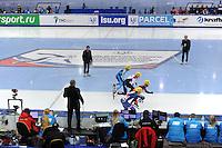"SHORT TRACK: MOSCOW: Speed Skating Centre ""Krylatskoe"", 13-03-2015, ISU World Short Track Speed Skating Championships 2015, start 1000m Men, Nurbergen ZHUMAGAZIYEV (#139   KAZ), Dmitry MIGUNOV (#154   RUS), Sjinkie KNEGT (#148   NED), Sebastien LEPAPE (#119   FRA), ©photo Martin de Jong"