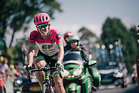 Lawson Craddock (USA/Education First-Drapac) is the last man up the Mûr de Bretagne (during the first run up)<br /> <br /> Stage 6: Brest > Mûr de Bretagne / Guerlédan (181km)<br /> <br /> 105th Tour de France 2018<br /> ©kramon