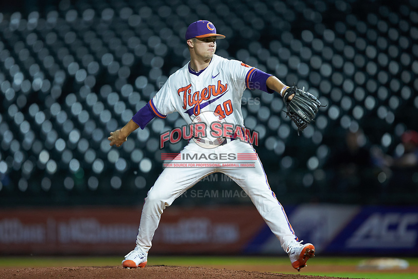 Clemson Tigers relief pitcher Owen Griffith (40) in action against the Duke Blue Devils in Game Three of the 2017 ACC Baseball Championship at Louisville Slugger Field on May 23, 2017 in Louisville, Kentucky. The Blue Devils defeated the Tigers 6-3. (Brian Westerholt/Four Seam Images)