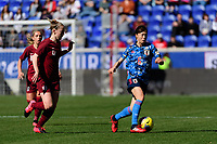 HARRISON, NJ - MARCH 08: Hina Sugita #6 of Japan during a game between England and Japan at Red Bull Arena on March 08, 2020 in Harrison, New Jersey.