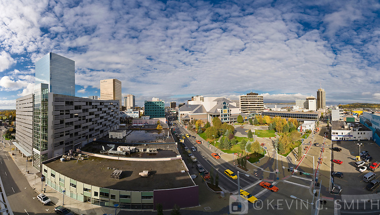 Rooftop view of the Anchorage skyline, Town Square and the Performing Arts Center, fall, Southcentral Alaska, USA.