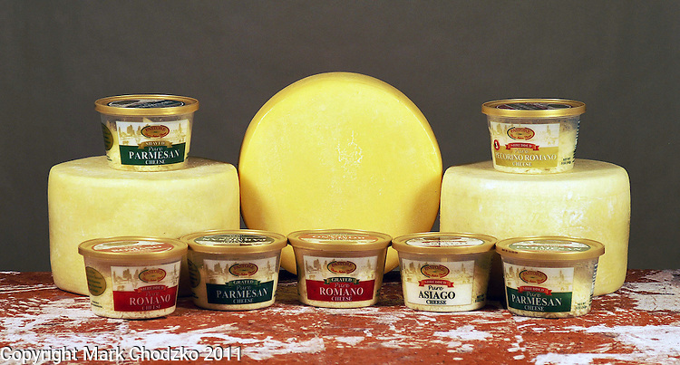 Food photography of olive oil and cheese products