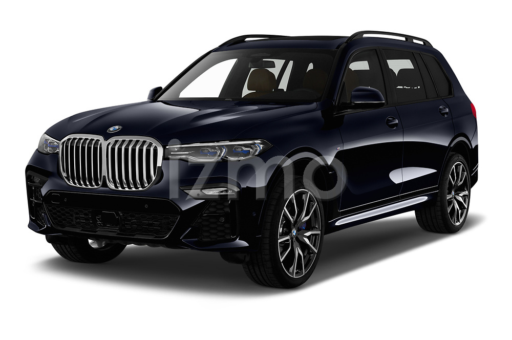 2019 BMW X7 M-Sport 5 Door SUV Angular Front stock photos of front three quarter view