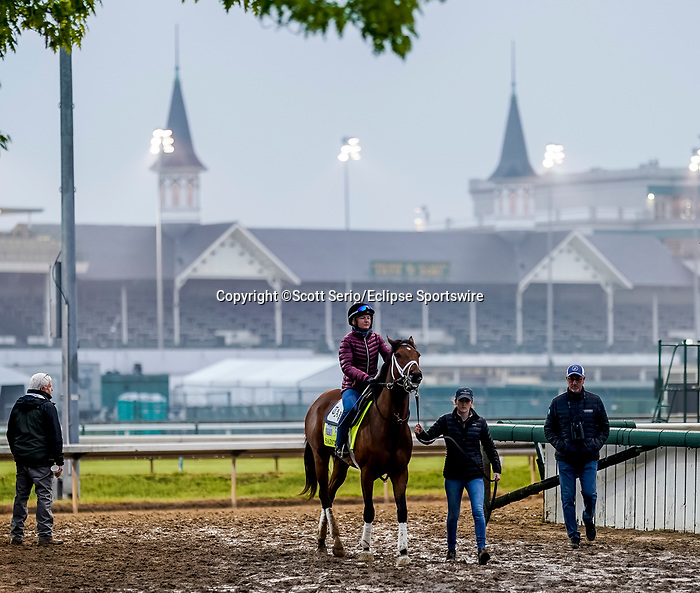 April 25, 2021: Sainthood, trained by trainer Todd Pletcher, exercises in preparation for the Kentucky Derby at Churchill Downs on April 25, 2021 in Louisville, Kentucky.Scott Serio/Eclipse Sportswire/CSM