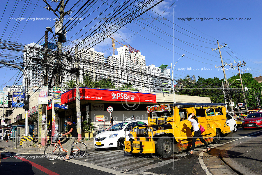PHILIPPINES, Manila, Quezon City, jeepney, new appartment buildings and electric grid