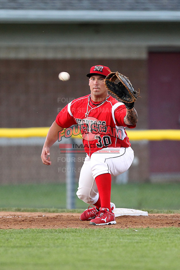 Batavia Muckdogs first baseman David Bergin #30 takes a throw during an exhibition game against the Newark Pilots of the Perfect Game Collegiate Baseball Lague at Dwyer Stadium on June 15, 2012 in Batavia, New York.  Batavia defeated Newark 8-0.  (Mike Janes/Four Seam Images)