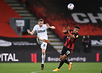 31st October 2020; Vitality Stadium, Bournemouth, Dorset, England; English Football League Championship Football, Bournemouth Athletic versus Derby County; Mike te Wierik of Derby County clears the ball under pressure from Junior Stanislas of Bournemouth