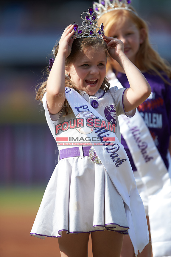 """The Winston-Salem Dash held a """"Little Miss Dash"""" contest prior to the Carolina League game against the Carolina Mudcats at BB&T Ballpark on June 1, 2019 in Winston-Salem, North Carolina. The Mudcats defeated the Dash 6-3 in game one of a double header. (Brian Westerholt/Four Seam Images)"""