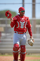 GCL Cardinals catcher Ivan Herrera (32) during a game against the GCL Mets on August 6, 2018 at Roger Dean Chevrolet Stadium in Jupiter, Florida.  GCL Cardinals defeated GCL Mets 6-3.  (Mike Janes/Four Seam Images)