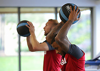 Mike van der Hoorn and Luciano Narsingh exercise in the gym during the Swansea City Training at The Fairwood Training Ground, Swansea, Wales, UK. Wednesday 27 September 2017