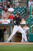 Rochester Red Wings center fielder Jeremy Hazelbaker (21) at bat during a game against the Lehigh Valley IronPigs on September 1, 2018 at Frontier Field in Rochester, New York.  Lehigh Valley defeated Rochester 2-1.  (Mike Janes/Four Seam Images)