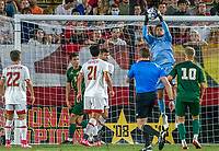 COLLEGE PARK, MD - SEPTEMBER 3: Maryland University goalkeeper Jamie Lowell (1) makes a save from a corner kick during a game between George Mason University and University of Maryland at Ludwig Field on September 3, 2021 in College Park, Maryland.