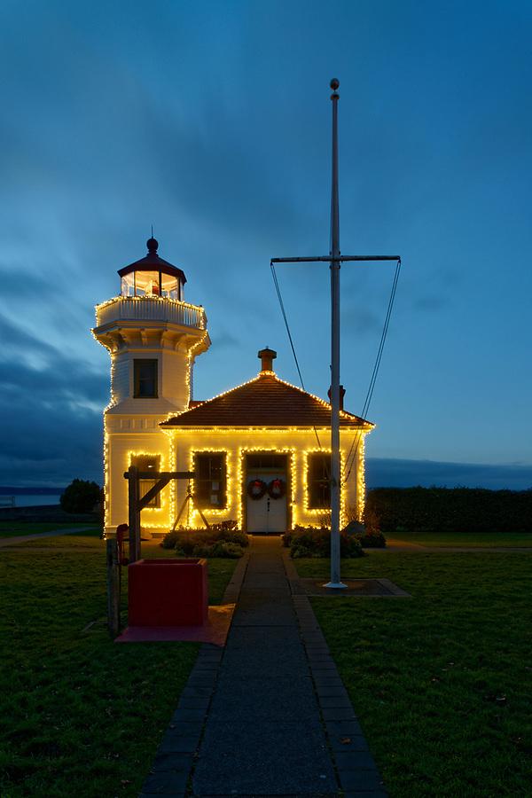 Christmas lights on Mukilteo Light, Mukilteo, Washington